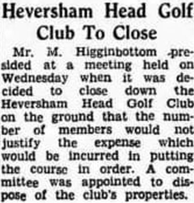 Heversham Head Golf Club, Cumbria. Notice of the closure of the club in September 1946.