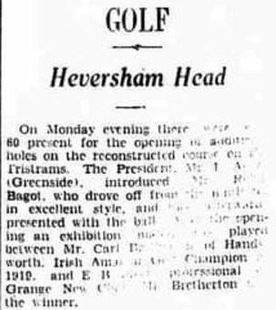 Heversham Head Golf Club, Cumbria. A report on the reconstruction of the course in May 1938.