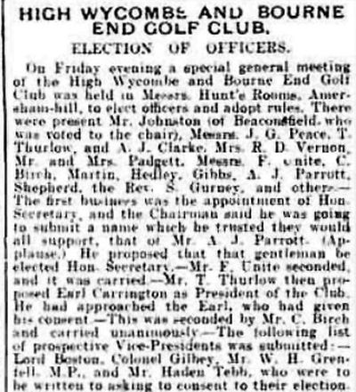 High Wycombe and Bourne End Golf Club, Bucks. Report on the AGM in December 1905.