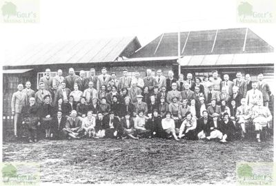 York Railway Institute Golf Club, Hob Moor. Members outside the clubhouse in the mid 1930s.