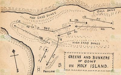 Holy Island Golf Club, Northumberland. Layout of the nine-hole Gowf course.