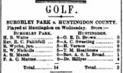 Huntingdon County Golf Club, Huntingdonshire. Result of a match played in October 1897.