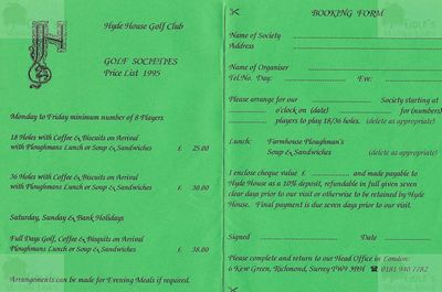 Hyde House Country Golf Club, Dorset. Golf Society price list 1995.