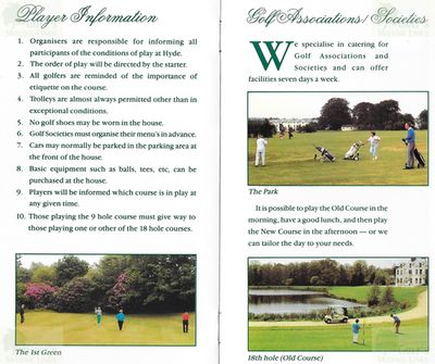 Hyde House Country Golf Club, Dorset. Player information.