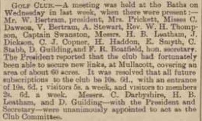 Ilfracombe Golf Club, Devon. Meeting of the Ilfracombe Golf Club in March 1893