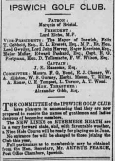 Ipswich Golf Club, Suffolk. From The Ipswich Journal April 1895.
