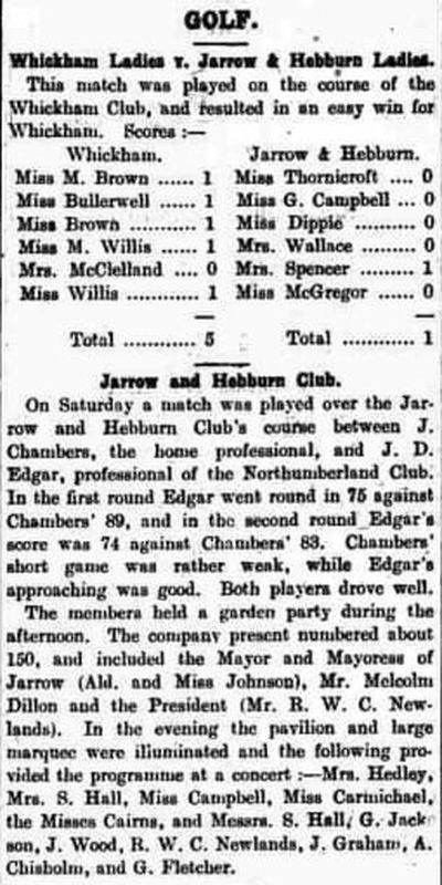 Jarrow and Hebburn Golf Club. Competition and match results from July 1913.