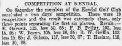 Kendal Golf Club, Race Course. Competition result from April 1895.
