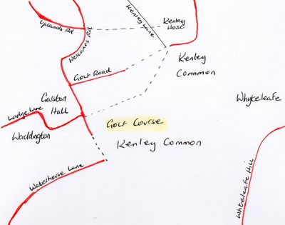 Caterham & Kenley Golf Club. Location of the course on Kenley Common.