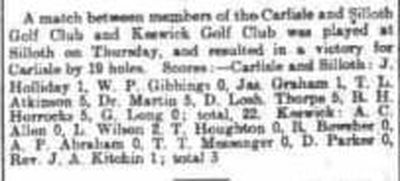 Keswick Golf Club, Cumbria. Result of a match at Carlisle Silloth May 1902.