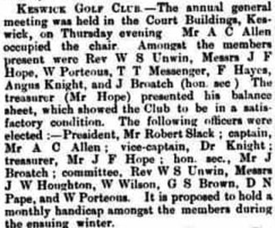 Keswick Golf Club, Cumbria. Report on the annual meeting in November 1895.
