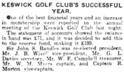 Keswick Golf Club, Cumbria. Report on the annual meeting in April 1931.