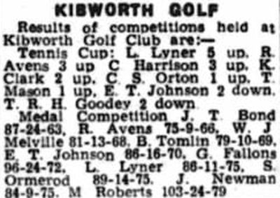 Kibworth Golf Club, Leicestershire. Competition results from April 1950.