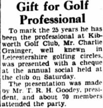 Kibworth Golf Club, Leicestershire. Presentation to the professional Charlie Grainger April 1949.