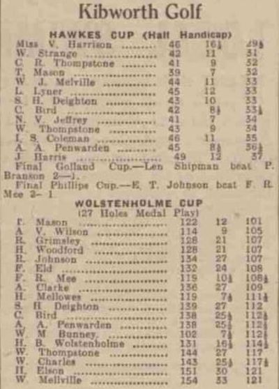 Kibworth Golf Club, Leicestershire. Competition results from July 1939.