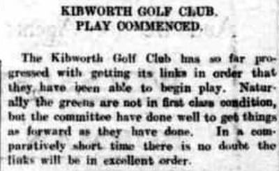 Kibworth Golf Club, Leicestershire. Re-opening of the golf course reported in May 1923.