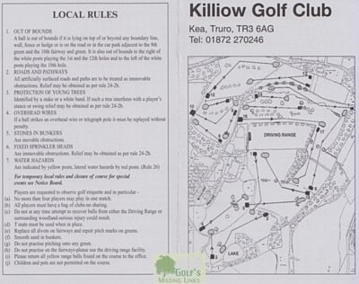 Killiow Park Golf Club, Truro. Scorecard from 2009.