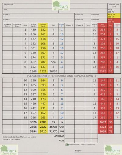 Killiow Park Golf Club, Truro. Scorecard just prior to closure..