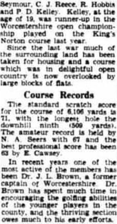 King's Norton Golf Club, Wychall Lane, Birmingham. Article on the history of the club from March 1958.