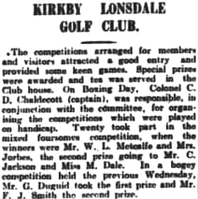 Kirkby Lonsdale Golf Club, Cumbria. Competition results December 1931.