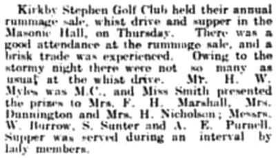 Kirkby Stephen Golf Club, Cumbria. The annual meeting held in March 1937.