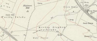 Kirkby Stephen Golf Club, Cumbria. The golf course marked on the 1920 O.S. map.