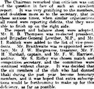 Kirkby Stephen Golf Club, Cumbria. Report on the annual meeting in May 1916.