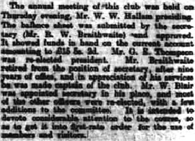 Kirkby Stephen Golf Club, Cumbria. Report on the annual meeting in April 1921.