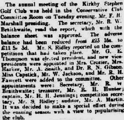 Kirkby Stephen Golf Club, Cumbria. Report on the annual meeting in February 1929.