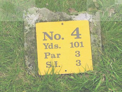 Halstead Place Golf Links, Kent. Tee marker for the fourth hole.