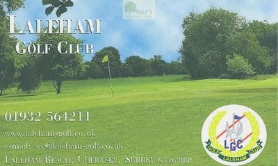 Laleham Golf Club, Chertsey, Surrey. Laleham Golf Club scorecard.