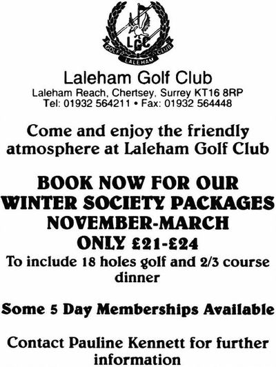 Laleham Golf Club, Chertsey, Surrey. Advert from September 1999.