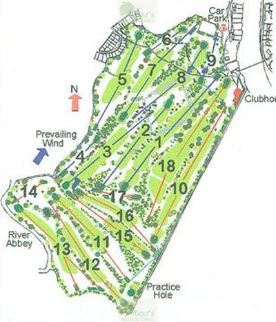 Laleham Golf Club, Chertsey, Surrey. Laleham Golf Club course plan.