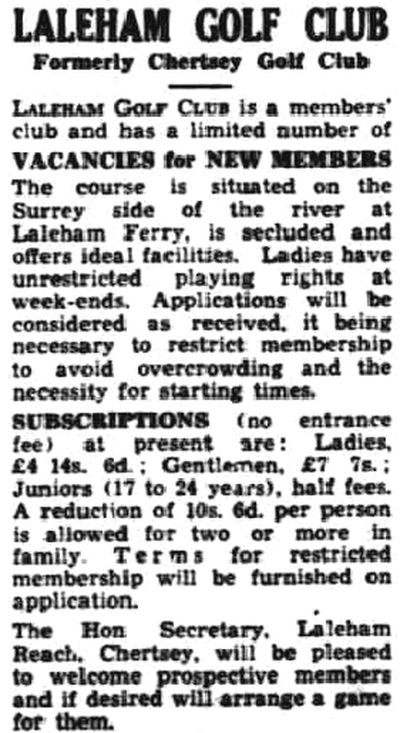 Laleham Golf Club, Chertsey, Surrey. Announcement for the Laleham Golf Club in February 1939.