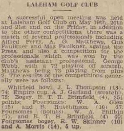 Laleham Golf Club, Chertsey, Surrey. Competition results from May 1939.