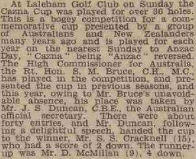 Laleham Golf Club, Chertsey, Surrey. Result of the Cazna Cup in May 1940