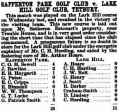 Sapperton Park Golf Club, Cirencester. Result of a match against Lark Hill Golf Club played i February 1902.