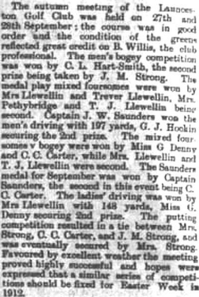 Launceston Golf Club, Cornwall. Results from the autumn meeting in September 1911.