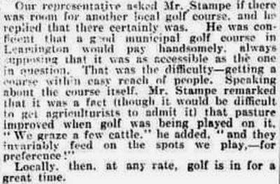 Leamington Golf Club, Milverton Course. Interesting report on the Leamington club in March 1920.