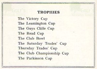 Leamington Golf Club. Club Trophies 1930s.