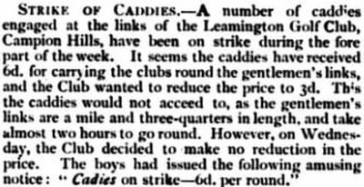 Leamington Golf Club, Campion Hills Course. Caddies strike at Leamington in May 1897.