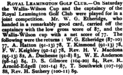 Royal Leamington Golf Club, Campion Hills Course. Competition for the captaincy of the club in November 1896.