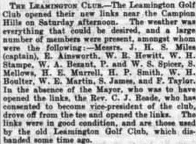 Leamington Golf Club, Campion Hills Course. The Campion Hills course reopens in September 1900.