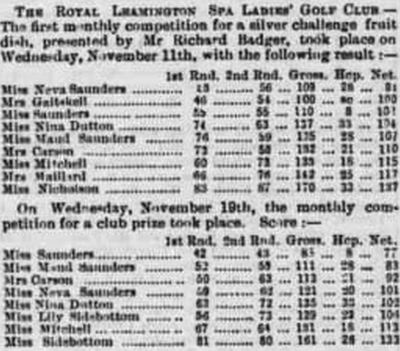 Royal Leamington Spa Ladies Golf Club, Campion Hills Course. The first competition in November 1890.