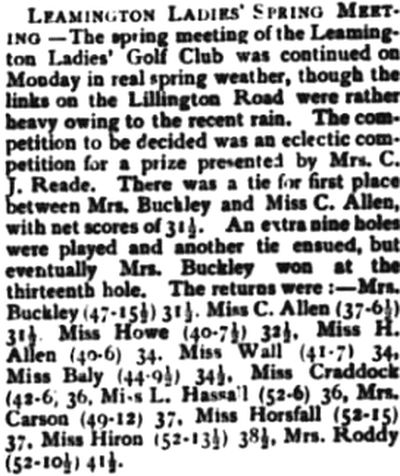 Royal Leamington Spa Ladies Golf Club, Lillington Road. Results from the spring meeting in April 1901.