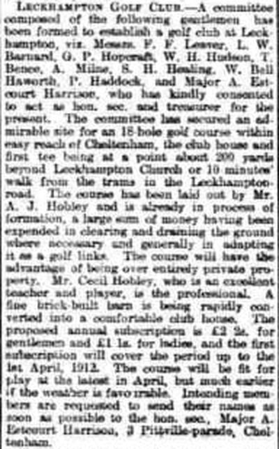 North Gloucestershire Golf Club, Leckahampton. Newspaper report from December 1910.