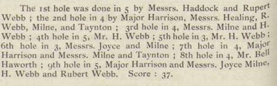 North Gloucestershire Golf Club, Leckahampton. Newspaper report from July 1911.