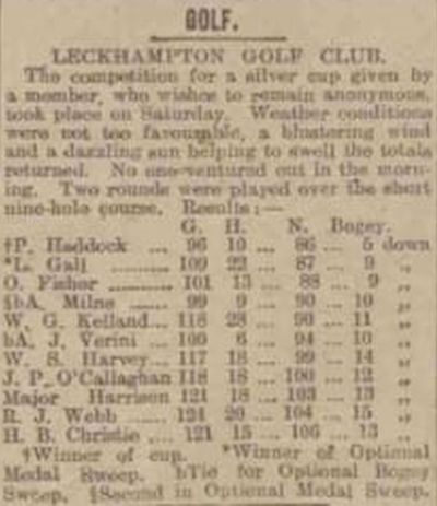 North Gloucestershire Golf Club, Leckahampton. Newspaper report from October 1911