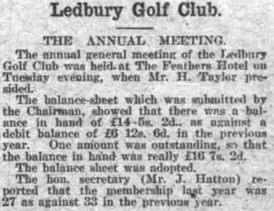 Ledbury Golf Club, Herefordshire. Report on the annual meeting in March 1928.