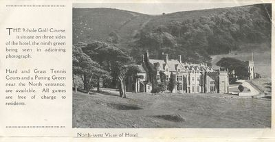 Lee Abbey Hotel Golf Club, Lynton. Hotel and green.